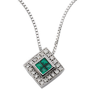 "14K White Gold Emerald + Diamond Pendant Necklace (18"")"
