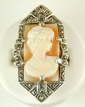ANTIQUE  STYLE  STERLING SILVER RING CAMEO w MARCASITE