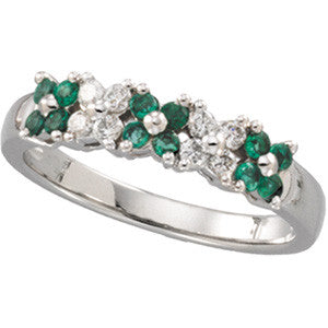 14K White Gold Wedding Band w/ 12 Emeralds + 8 Diamonds (set in Daisy style clusters)