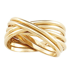 14K Yellow Gold Rolling Wedding Band