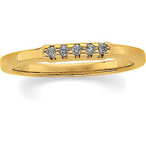 (0.10 Carat) 14K Yellow Gold Diamond Wedding Anniversary Band (Color: G, Clarity: SI)
