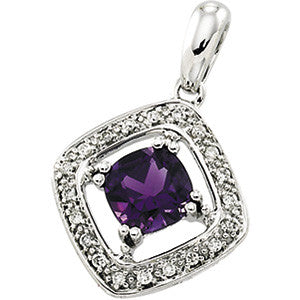 14K White Gold Amethyst (1 Carat) + Diamond Pendant (23 x 9MM)
