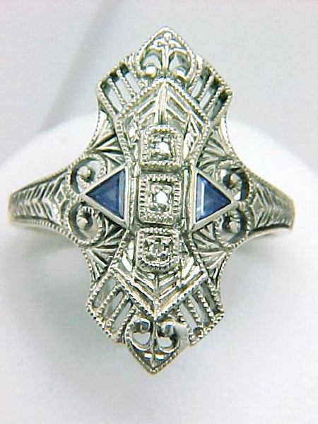 DIAMOND SAPPHIRE FILIGREE DINNER RING STERLING SILVER ANTIQUE STYLE RETAIL $170 + TAX!