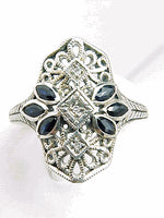 ANTIQUE STYLE STERLING SILVER RING DIAMOND w SAPPHIRE FILIGREE