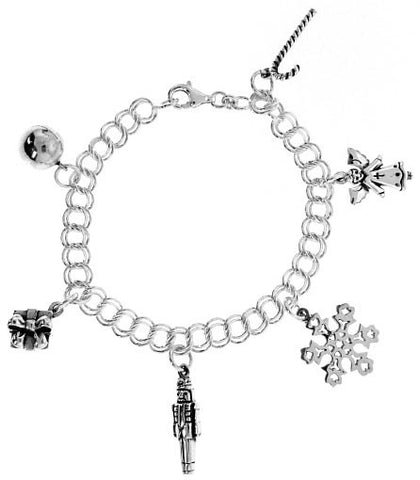STERLING CHARM BRACELET CHRISTMAS ANGEL BELL