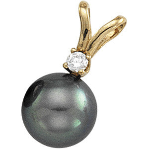 (0.10 Carat) 14K Yellow Gold Akoya Cultured Black Pearl (3MM)  + Diamond Pendant