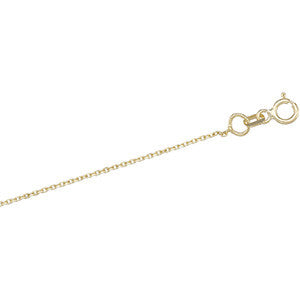 "14K Solid Gold Cable Chain Necklace 1.0MM (18"")"