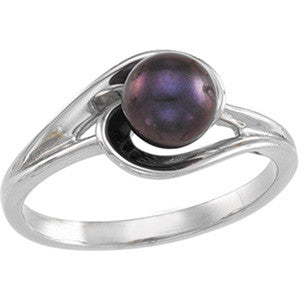 14K White Gold Black Cultured Pearl (6MM) Ring