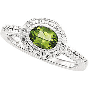 (1 Carat) 14K White Gold Vintage, Halo Style Oval Peridot + Diamond Ring (Color: G, Clarity: SI)