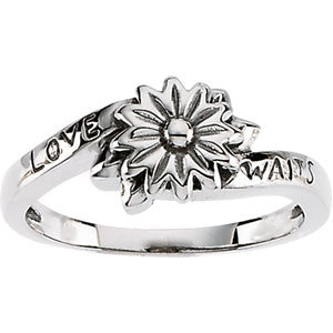 "10K White Gold Chastity ""Love Waits"" Ring"
