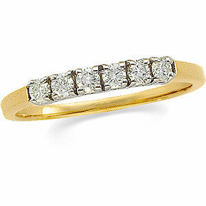 (0.25 Carat) 14K Yellow Gold Six Stone Diamond Wedding Band