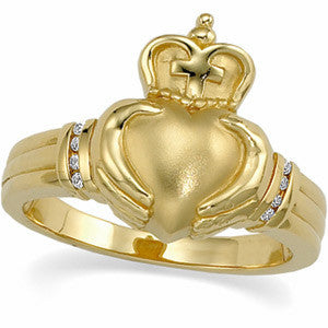 14k Yellow Gold Men's Claddagh Ring with 8 Diamonds (Size 11)