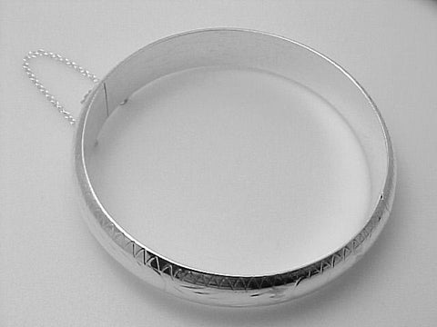BANGLE BRACELET STERLING SILVER 1/2 INCH WIDE