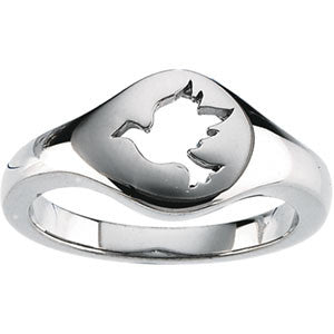 14K White Gold Dove of Peace Ring