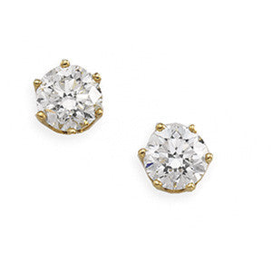 (0.50 Carats) Diamond Stud Earrings in 14k Yellow Gold - Color: H, Clarity - I1