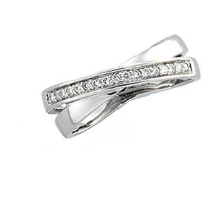 (0.18 Carat) 14K White Gold Criss Cross Design Diamond Ring Wedding Band (Color: H, Clarity: SI)