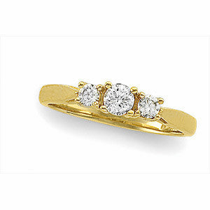 "(0.50 Carat) 14K Yellow Gold Three Diamond Wedding Ring, Anniversary Band ""Yesterday, Today & Tomorrow"" ""Past, Present & Future""(Color: H, Clarity: SI)"