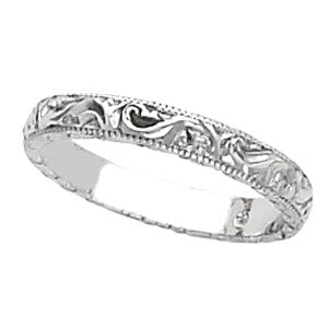 14K White Gold, Antique, Vintage Style Hand Engraved Wedding Band