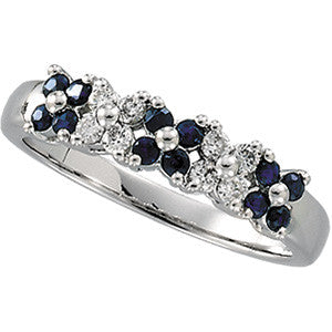 14K White Gold Floral Cluster Design Blue Sapphire + Diamond Ring Wedding Band
