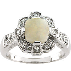(1.50 Carat) 14K White Gold Cushion Cut Opal + Diamond Ring