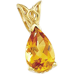 14K Yellow Gold and Pearshaped Citrine (1 Carat) Pendant
