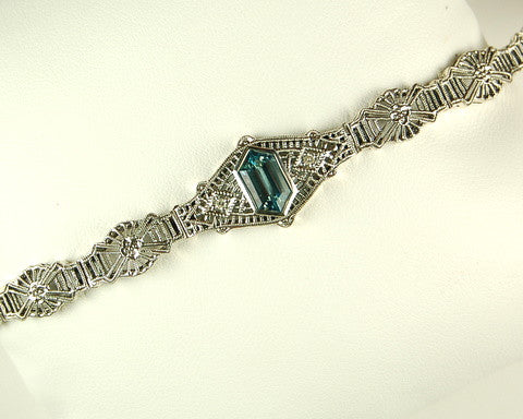 ANTIQUE STERLING SILVER BRACELET BLUE TOPAZ DIAMOND