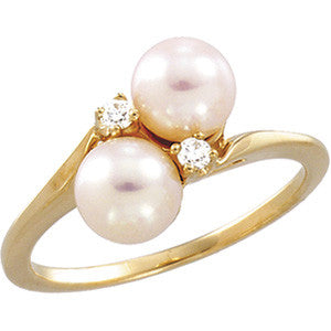 14K Yellow Gold Akoya Cultured Pearl (6MM) + Diamond Bypass Design Ring