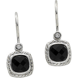 14K White Gold Black Onyx + Diamond Dangling Earrings