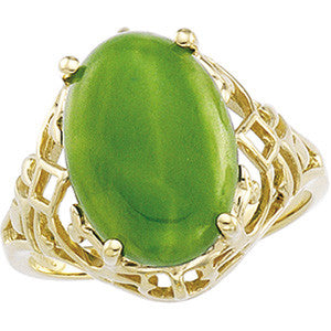 14K Yellow Gold Ring w/ Oval Green Jade (7 Carat) (14 x 10mm)