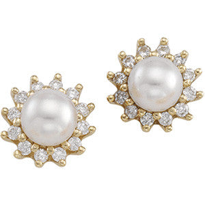 CULTURED PEARL AND DIAMOND EARRINGS 14K GOLD