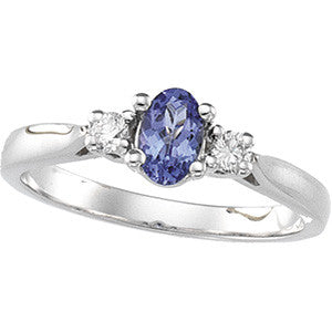 (0.64 Carat) 14K White Gold Oval Tanzanite + Diamond Ring