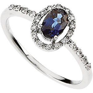 (0.70 Carat) 14K White Gold Halo Style Oval Blue Sapphire + Diamond Ring