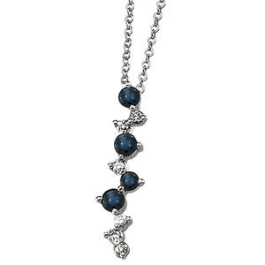 14k White Gold Necklace featuring 4 Blue Sapphires & 4 Diamonds
