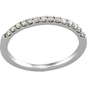 (0.14 Carat) 14K White Gold Diamond Wedding Band Ring (Color: G, Clarity: SI)