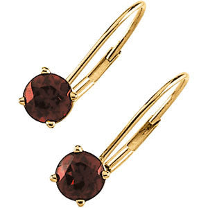 MOZAMBIQUE GARNET EARRINGS 14K GOLD LEVER BACK RETAIL $245 + TAX!