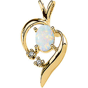 (0.50 Carat) 14K Yellow Gold Oval Cabachon Opal + Diamond Swirl Goldwork Pendant