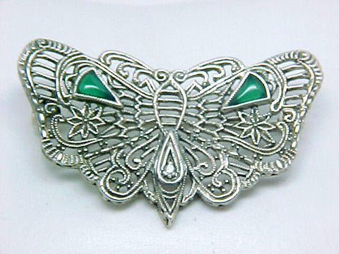 ANTIQUE STYLE STERLING SILVER PIN BUTTERFLY DIAMOND