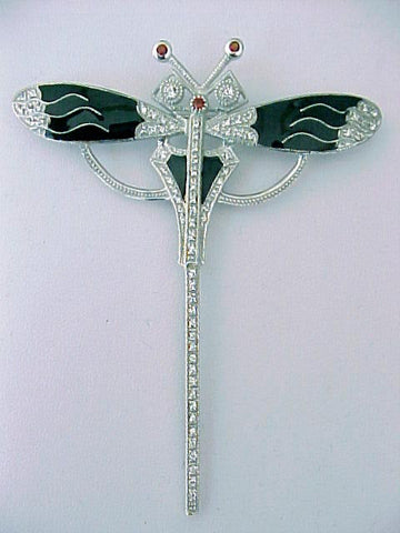DRAGONFLY PIN CRYSTAL BLACK ENAMEL STERLING ART DECO STYLE