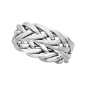 14K White Gold Hand Woven Wedding Band (6.5MM)
