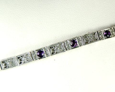BRACELET ANTIQUE STYLE AMETHYST STERLING SILVER FILIGREE