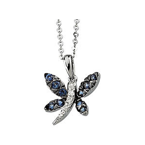 "14K White Gold Sapphire +Diamond Dragonfly Pendant Necklace (20"")"