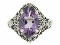 ANTIQUE STYLE STERLING SILVER RING AMETHYST 3 CARATS!