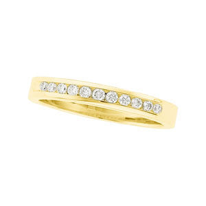 (0.25 Carat) 14K Yellow Gold Round Diamond Wedding Band (Color: H, Clarity: SI)