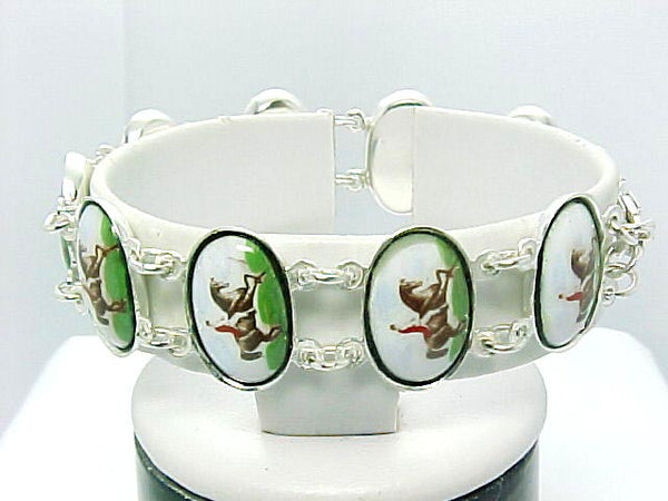 STERLING SILVER BRACELET HORSE JOCKEY DRESSAGE PORCELAIN TOP