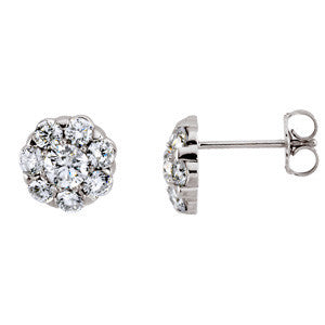 (0.75 Carat) 14K White Gold Halo Style Diamond Stud Earrings (Color: H, Clarity: I1)