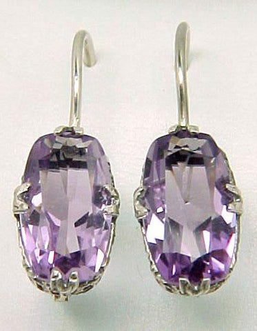 ANTIQUE STYLE STERLING SILVER EARRINGS 2  AMETHYST = 6 CARATS!