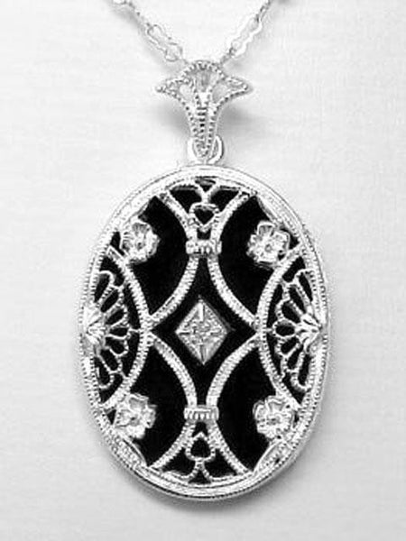 ANTIQUE STERLING SILVER NECKLACE BLACK ONYX DIAMOND
