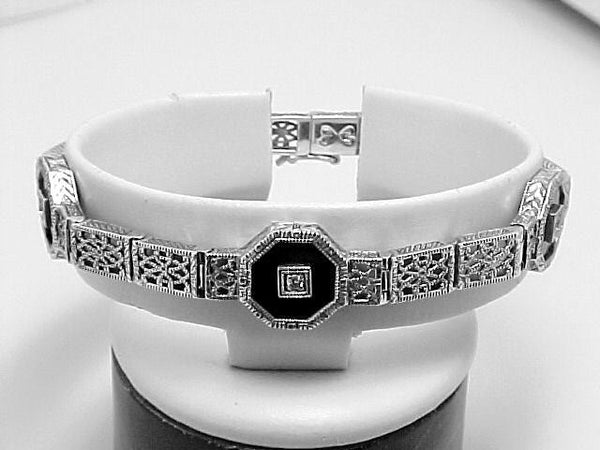 ANTIQUE STERLING BRACELET DIAMOND ONYX