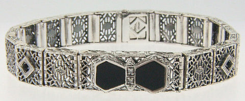 ANTIQUE STERLING SILVER BRACELET BLACK ONYX DIAMOND