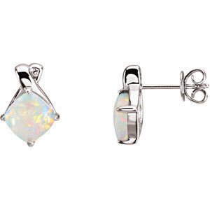 14K White Gold Opal + Diamond Earrings
